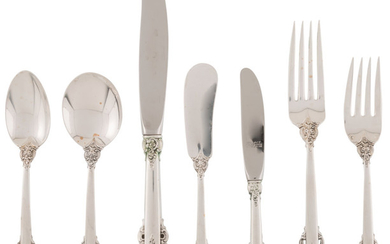 An Eighty-Four Piece Wallace Grande Baroque Pattern Silver Flatware Service (introduced 1941)