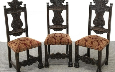 (3) SPANISH RENAISSANCE REVIVAL CARVED SIDE CHAIRS