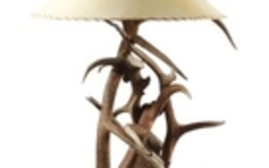 Western Style Moose Paddle and Elk Antler Floor Lamp