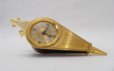 Alarm clock with 8 days movement - Jaeger - Bronze (gilt/silvered/patinated/cold painted) - 20th century