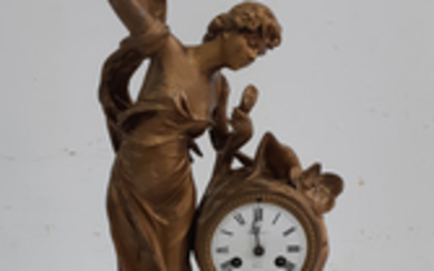 FRENCH ART NOVEAU PATINATED METAL FIGURAL CLOCK