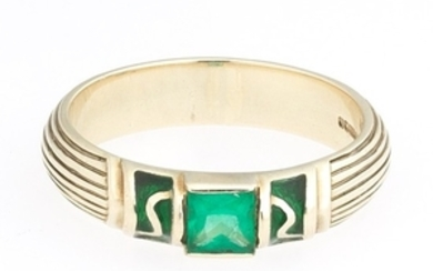 Ladies' English Gold, Emerald and Enamel Band