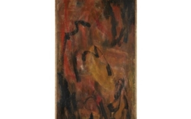 WIN NG (american, 1936-1991) RED AND BLACK ABSTRACT Signed...