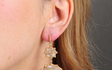 A pair of 18ct gold, diamond and mother-of-pearl 'Dream Catcher' earrings, by Anoushka.