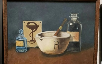 1973 Pharmaceutical Themed Oil Painting by Genevieve