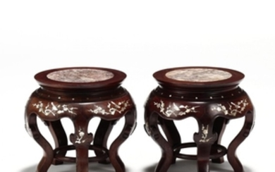 A Pair of Chinese Carved Wooden Stools with Mother-of-Pearl Inlay and Marble Tops
