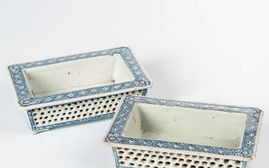 Pair of Double-walled Reticulated Blue and White Narcissus Planters