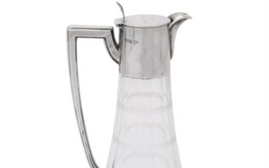 An Edwardian silver mounted glass claret jug by Walker & Hall