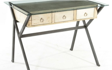 IRON AND GLASS DESK STYLE OF ICO PARISI C.1960