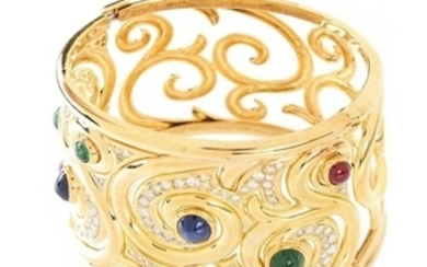 Italian Gemstone and 18K Wide Cuff Bangle