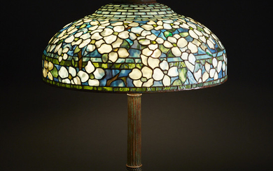 Tiffany Studios Leaded Glass and Bronze Dogwood 2