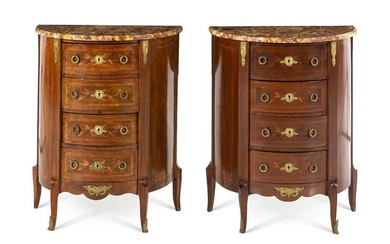 A Pair of Transitional Style Marquetry Side Cabinets