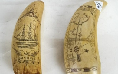 Two Scrimshaw Tooth Carvings