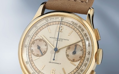 Vacheron Constantin, Ref. 4072 A very attractive and rare yellow gold chronograph wristwatch with three-tone dial