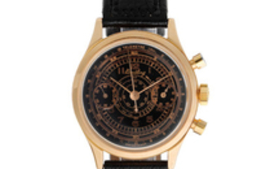 Breitling. An 18K rose gold manual wind chronograph wristwatch