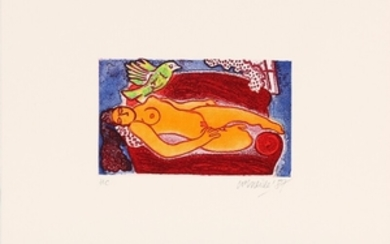 1907/661: Corneille: Composition. Signed Corneille 87, HC. Etching in colours Sheet size 40 x 51 cm. Unframed.