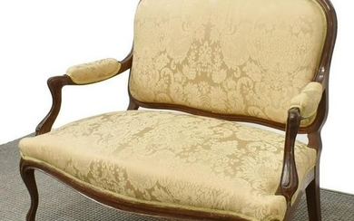 LOUIS XV STYLE UPHOLSTERED PARLOR SETTEE SOFA