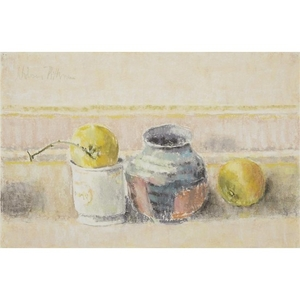 HOBSON PITTMAN (american, 1900-1972) TWO APPLES, TWO POTS Signed...