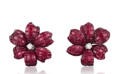 A Pair of Invisibly-Set Ruby and Diamond Flower Earrings
