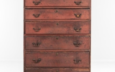 Red-painted Tall Chest of Six Drawers