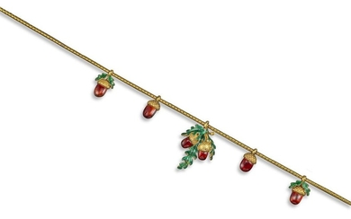 A Victorian gold and enamel acorn necklace, the sn…