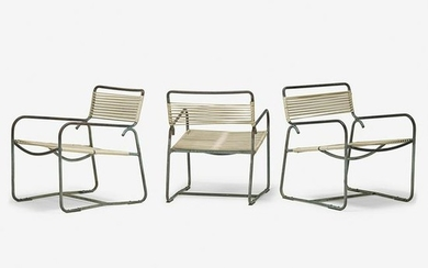 WALTER LAMB Set of three chairs, coffee table