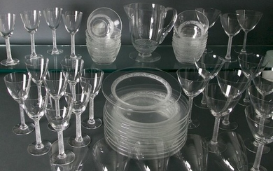 56 piece Set of Lalique Glass In The Phalsbourg Pattern