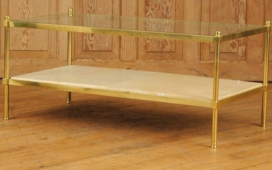 BRASS GLASS COFFEE TABLE WOOD COVERED PARCHMENT