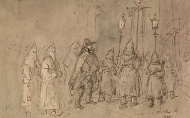 CONSTANTIN GUYS (Vlissingen 1802 1892 Paris) An Evening Church Procession, Holy Week.