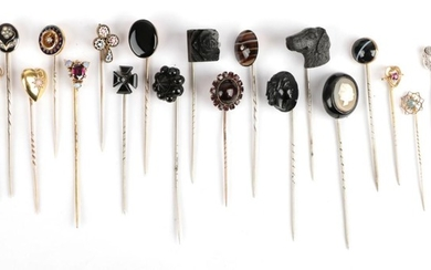 Twenty-Two Stick Pins, including agate examples; a dog's head example;...