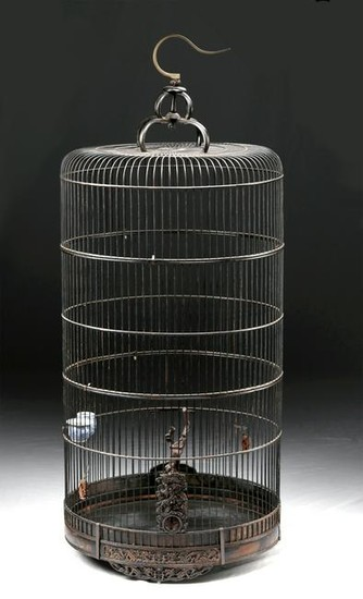 19th C. Chinese Bamboo Bird Cage - Porcelain Dishes