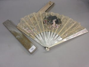 19th Century French lace work fan painted with figures and b...