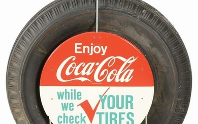 COCA-COLA TIRE DISPLAY ADVERTISEMENT.