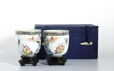 Pair Chinese Famille Rose 'Eight Immortals' Cups