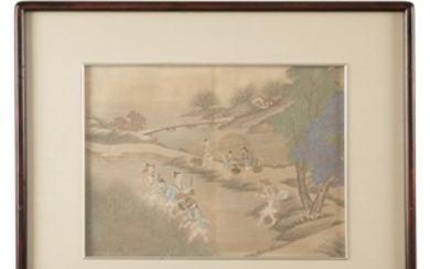 A set of eight Chinese pastoral watercolor scenes 19th/early...