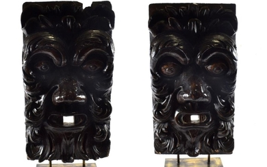 A Pair of Venetian Carved Pine Wall Masks, 18th century,...