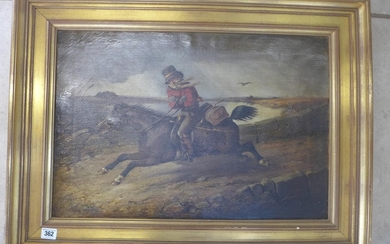 An oil on canvas, Horse and rider at speed, signed R Leaglan...