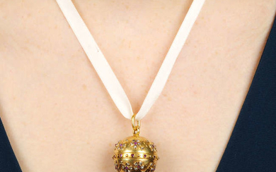 A late 19th century 18ct gold spherical watch pendant, with ruby and rose-cut diamond floral motif.