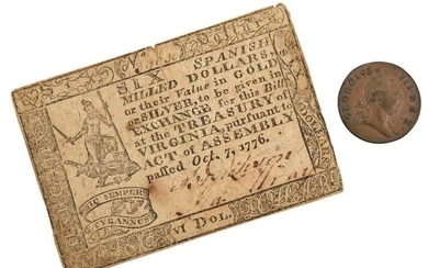 Virginia Coin and Currency from 1770s