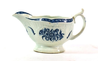 A Worcester Porcelain Sauce Boat, circa 1770, printed in underglaze...