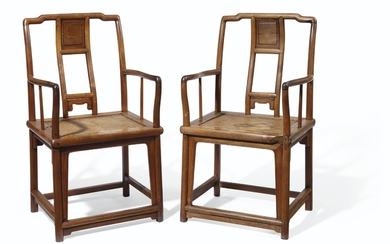 A PAIR OF CHINESE HUANGHUALI 'SOUTHERN OFFICIAL'S HAT' ARMCHAIRS, NANGUANMAOYI, QING DYNASTY, 18TH-19TH CENTURY