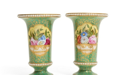 Pair of Continental green glazed porcelain vases