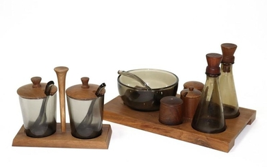 A Danish style condiment set in two parts, each with