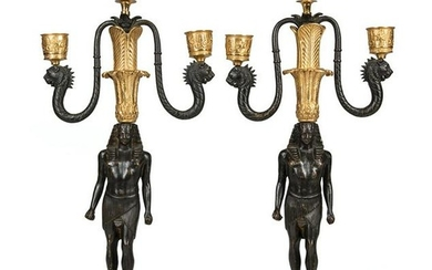Gilt and Patinated Bronze Candelabra