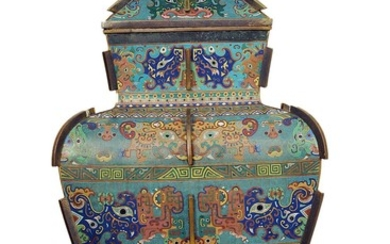 A Large Imperial Cloisonne Enamel Vase and Cover, Fanglei 18th Century