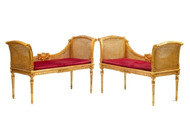 A Pair of Louis XVI Style Giltwood Settees