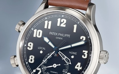 Patek Philippe, Ref. 5524G An unusual and extremely rare white gold dual time automatic wristwatch with center seconds, date, certificate and box