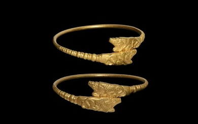 Scythian Gold Bracelet with Lion Attacking an Ibex