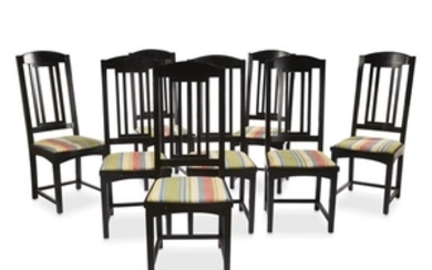 A set of eight Pace ebonized dining chairs circa...