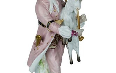 Statuette Statuette of bagpipe with goat. Porcelain painted in delicate...